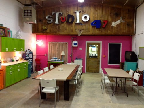 Studio 47, directly behind the Bungalow 47. Monthly workshops held here.
