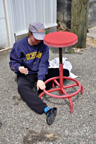 Painting metal stool