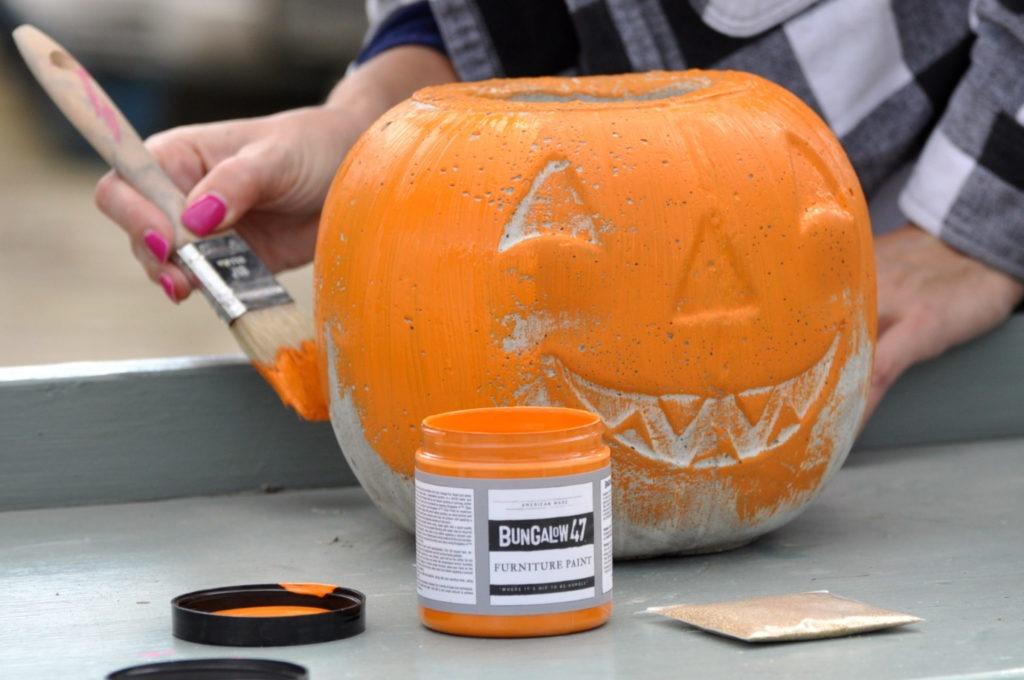 Painting cement pumpkins using Bungalow 47 paint