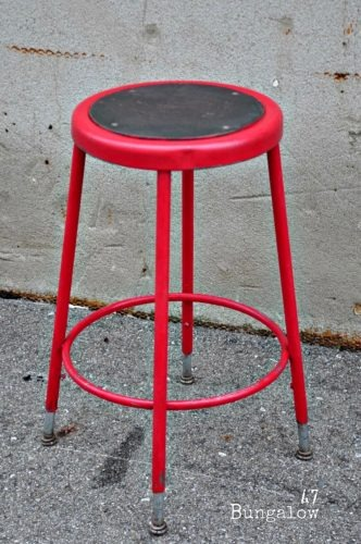 Painting metal stool