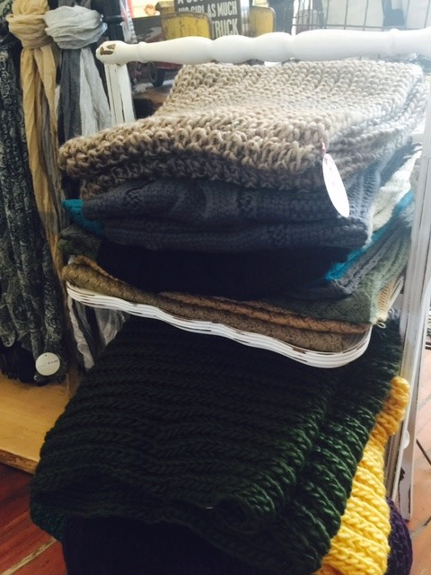 Knitted scarves at Bungalow 47