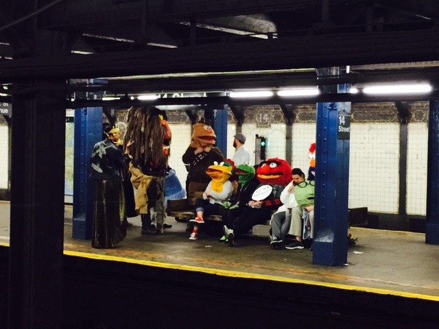 Muppets waiting for the subway - Halloween in NYC!
