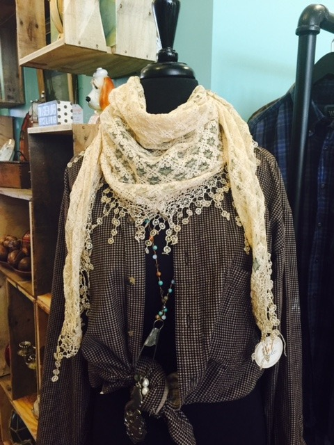 Lace scarves and flannel at Bungalow 47