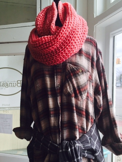 Vintage boyfriend flannels and knitted scarves at Bungalow 47