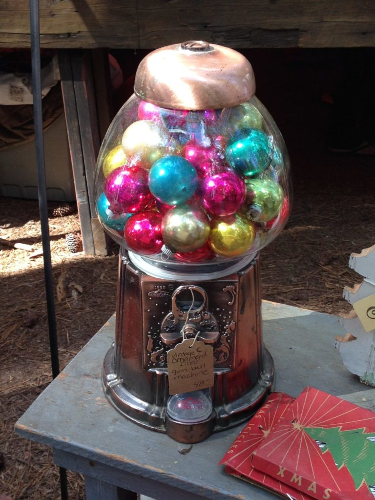 Christmas balls replace gum balls, brilliant!
