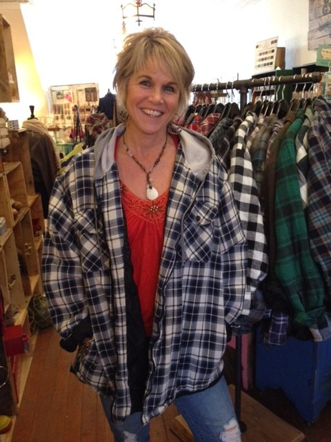 Kris modeling our Vintage Boyfriend Flannels at Bungalow 47