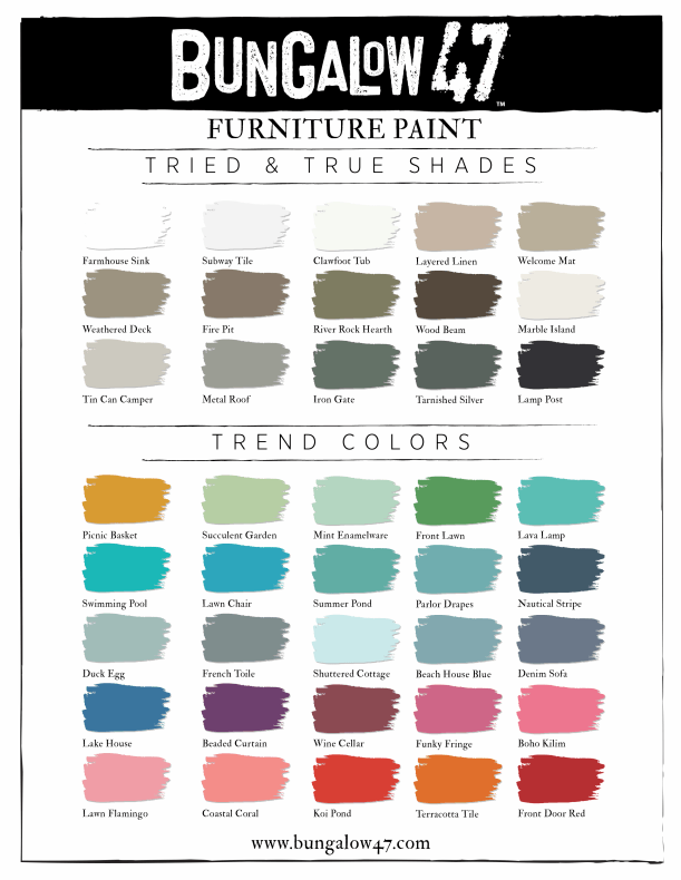 Bungalow 47 Furniture Paint Color Chart Bungalow 47